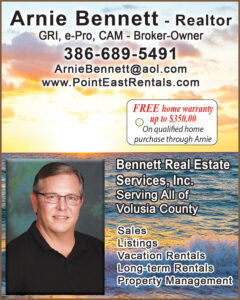 Photo and ad Arnie C Bennett licensed real estate broker in New Smyrna Beach